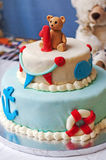First Birthday, Sea World Theme. First Birthday, see world theme, cake and teddy bear Royalty Free Stock Image