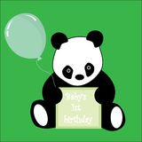 First Birthday sign and baby Panda. Cute Panda holding a placard saying Baby's 1st birthday and a green balloon, vector royalty free illustration