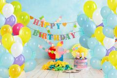 First birthday smash the cake. birthday greetings. First birthday smash the cake. Festive background decoration for birthday with cake, Cake Smash first year stock image