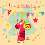 First birthday. Vector happy birthday greeting card, birthday invitation. Anniversary greeting card Stock Image