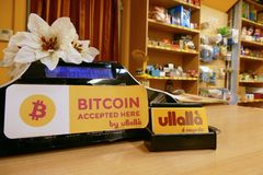 First bitcoin accepting store in town Turin Italy stock image