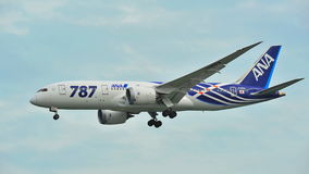 First Boeing 787 (Dreamliner) of All Nippon Airways (ANA) fleet landing at Changi Airport Royalty Free Stock Image