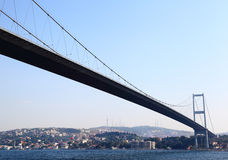 The First Bosporus Bridge connecting Europe and As. The first Bosporus Bridge connecting European Istanbul with Asian Istanbul Royalty Free Stock Photography