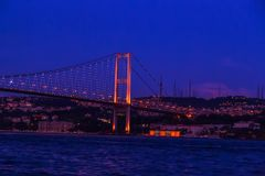 First Bosporus Bridge connecting Europe and Asia, Outdoor Istanb. Ul city. Turkey landmark Stock Images