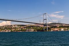 First Bosporus Bridge connecting Europe and Asia, Outdoor Istanb. Ul city. Turkey landmark Royalty Free Stock Photo