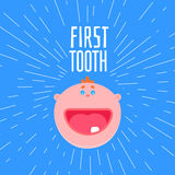 First boys tooth greetings. Adorable 6 months old baby laughing. First tooth greetings card with typography and baby flat style face. One kids tooth funny banner Stock Photography