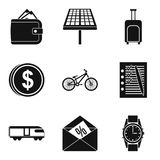 First business icons set, simple style. First business icons set. Simple set of 9 first business vector icons for web isolated on white background Stock Photo