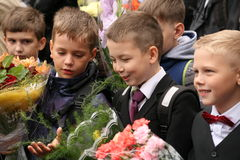 The first call. September 1, Knowledge Day in Russian school. Day of Knowledge. First day of school. Stock Photos