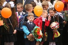 The first call. September 1, Knowledge Day in Russian school. Day of Knowledge. First day of school. Stock Photo