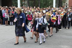 The first call. September 1, Knowledge Day in Russian school. Day of Knowledge. First day of school. September 1, Knowledge Day in Russian school. Day of Royalty Free Stock Image