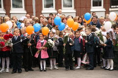 The first call. September 1, Knowledge Day in Russian school. Day of Knowledge. First day of school. Stock Image