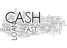 First Cash Loan Cash To Meet Your Financial Emergencies Word Cloud Concept. First Cash Loan Cash To Meet Your Financial Emergencies Text Background Word Cloud Royalty Free Stock Image