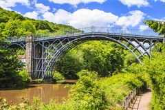 Ironbridge, Shropshire, England. The first cast iron bridge built in 1779 to cross the Severn River Stock Image