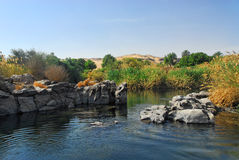 The First Cataract. Near the city of Assouan. The cataracts of the Nile are shallow lengths of the Nile River, between Aswan and Khartoum, where the surface of Stock Photo