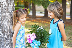 First Children love-St Valentin's Day Royalty Free Stock Photos