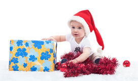 First chirstmas of a baby boy Royalty Free Stock Photography