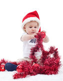First christmas of a baby boy Royalty Free Stock Image