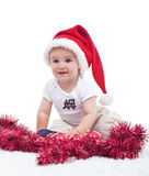 First christmas of a cute baby boy - isolated Stock Images
