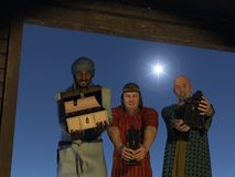 The first Christmas present. The magi bearing gifts of gold frankincense and myrrh at the stable with the star of Bethlehem overhead Stock Images