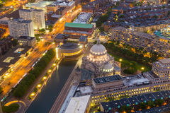 The First Church of Christ Scientist in Christian Science Plaza. At twilight in Boston, MA, USA from top view Royalty Free Stock Image
