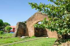 First church south of equator in Africa, Angola, M`banza Congo. The ruin is still to large parts intact today Stock Photography