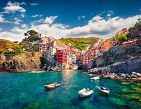 Free First City Of The Cique Terre Sequence Of Hill Cities - Riomaggiore. Colorful Morning View Of Liguria, Italy, Europe. Great Spring Royalty Free Stock Image - 159462706
