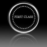 First class. Silver symbol with some reflection on it Royalty Free Stock Photos