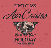 First class air cruise. Vector artwork for t shirt print in custom colors, grunge effect in separate layers Royalty Free Stock Photo