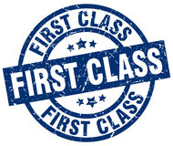 First class blue round stamp Royalty Free Stock Photo