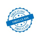 First class stamp illustration. First class blue stamp seal illustration design Royalty Free Stock Image