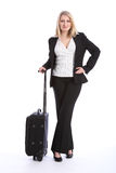 First class business travel beautiful young woman Stock Photos