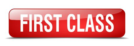 First class button. First class square 3d realistic isolated glass web button. first class Stock Photo