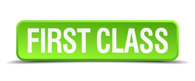 First class button. First class square 3d realistic isolated web button. first class Royalty Free Stock Image
