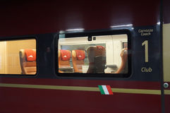 First class. First-class carriage , super fast train Italo, Italy's new high-speed train by Ferrari. Some of the features of the trains include a cinema car Stock Image