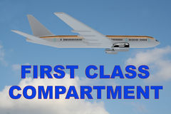 First Class Compartment concept. 3D illustration of FIRST CLASS COMPARTMENT title on cloudy sky as a background, under an airplane Royalty Free Stock Photo