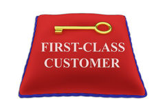 First-Class Customer concept. 3D illustration of FIRST-CLASS CUSTOMER Title on red velvet pillow near a golden key, isolated on white Royalty Free Stock Images