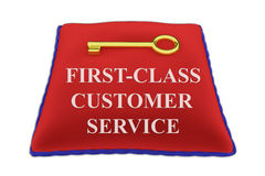 First-Class Customer Service concept. 3D illustration of FIRST-CLASS CUSTOMER SERVICE Title on red velvet pillow near a golden key, isolated on white Royalty Free Stock Photos