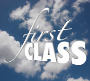 First Class 3d Words Top Level Service Category Exclusive Execut Stock Photos