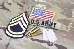 First Class för USA-ARMÉsergeant frodig lapp, flaggalapp, med hundetiketten med 5 56 mmrundor på camouf Arkivfoto