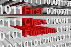 First class function. In the form of binary code, 3D illustration Stock Photography