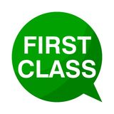 First class, Green Speech Bubble. Green Speech Bubble first class, vector icon Royalty Free Stock Images