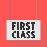 First class Hanging Sign. Hanging Sign first class, vector icon Royalty Free Stock Image