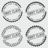 First Class insignia stamp isolated on white. First Class insignia stamp isolated on white background. Grunge round hipster seal with text, ink texture and Stock Image