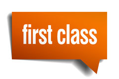 First class orange speech bubble. Isolated on white Royalty Free Stock Image