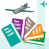 First class plane tickets. Abstract colorful illustration with various plane tickets with the text first class written on each of them Royalty Free Stock Photo