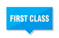 First class price tag. First class blue square price tag Royalty Free Stock Images