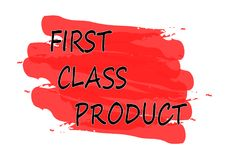 First class product banner. First class product red banner Stock Image