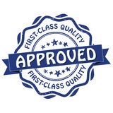 First class quality, approved grunge printable stamp. CMYK colors used Royalty Free Stock Photos
