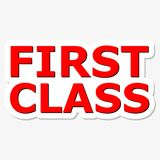 First Class Red Sign. Simple First Class Red Sign Royalty Free Stock Photos