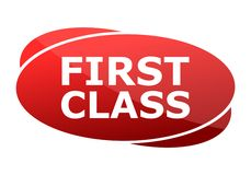 First Class red sign. Vecton icon Royalty Free Stock Photography
